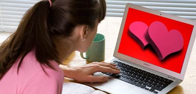 Online dating screen with hearts