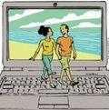 Online dating - couple walking on keyboard