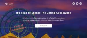 Hinge dating apocalypse website screenshot