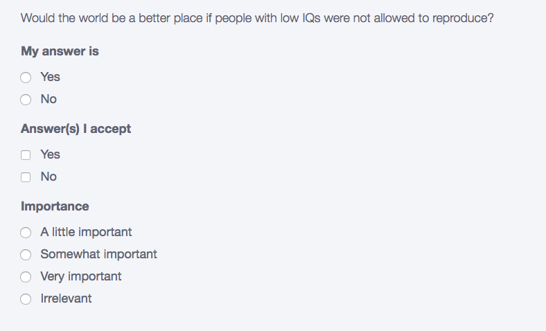 Okcupid question iq screenshot