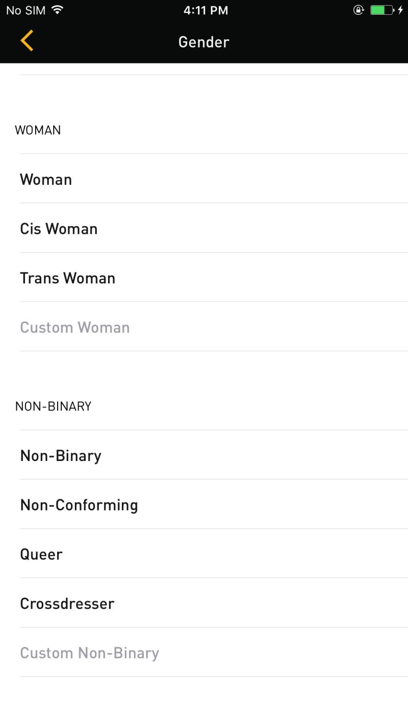 Grindr new profile gender