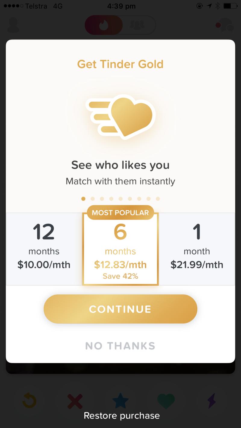 Tinder gold price screenshot