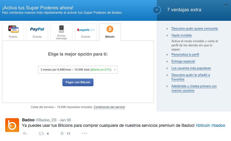 Badoo bitcoin screenshot