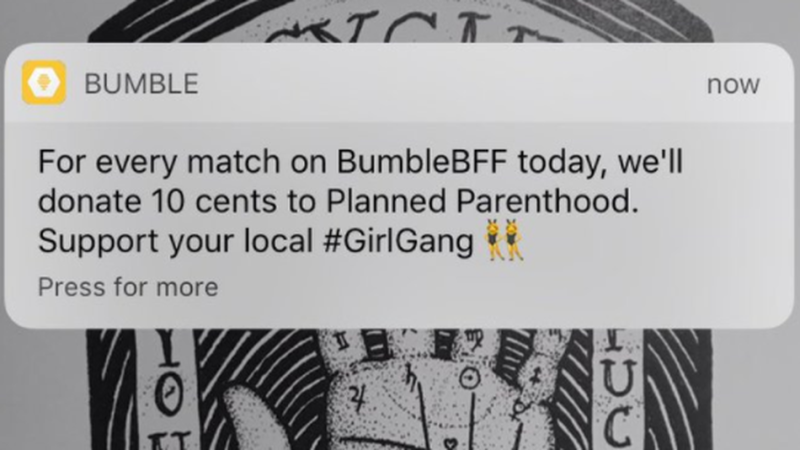 Bumble planned parenthood