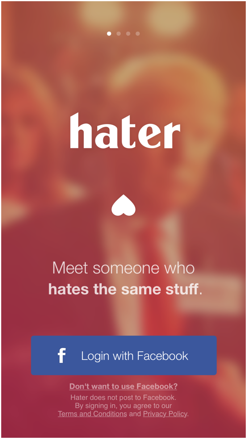 Hater welcome screen