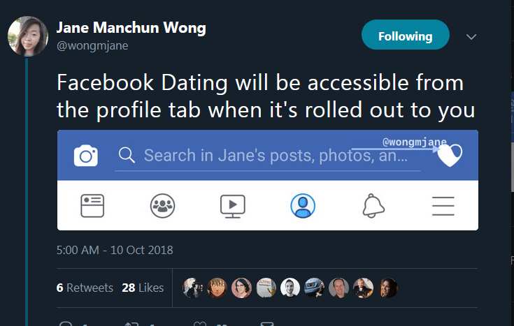 Facebook-Dating tweet