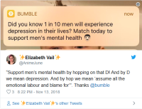 Bumble mental health notification