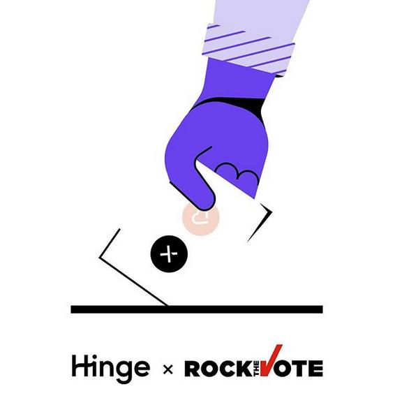 Hinge rockthevote logos