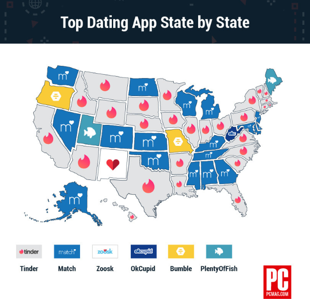 Dating apps state by state