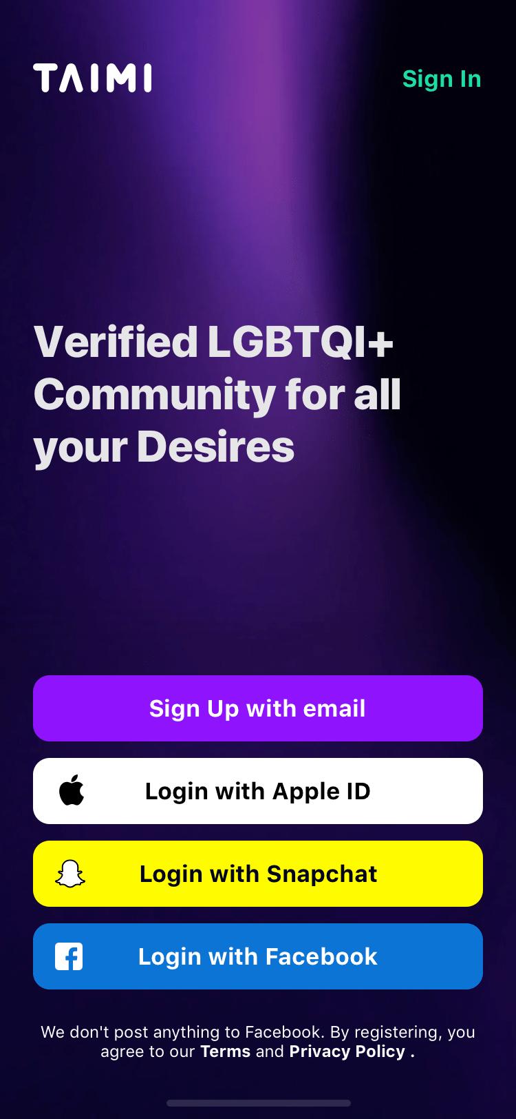 Taimi screenshot apple id login