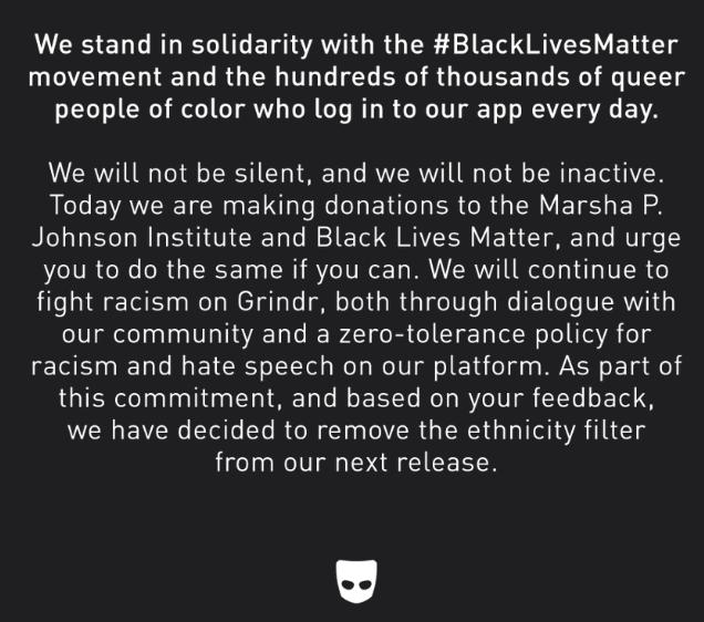 Grindr ethnicity filter statement